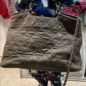 Authentic Chanel Metallic Taupe Tote